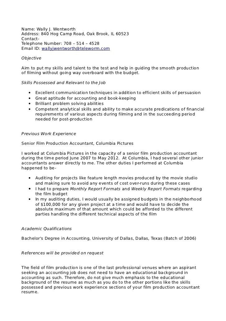 Film production accountant resume