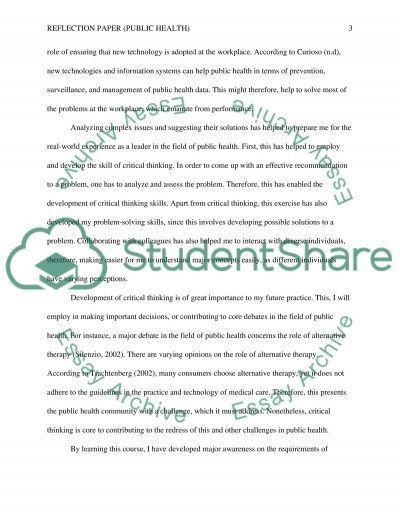 Reflection Paper(Public Health) Research Paper Example | Topics ...