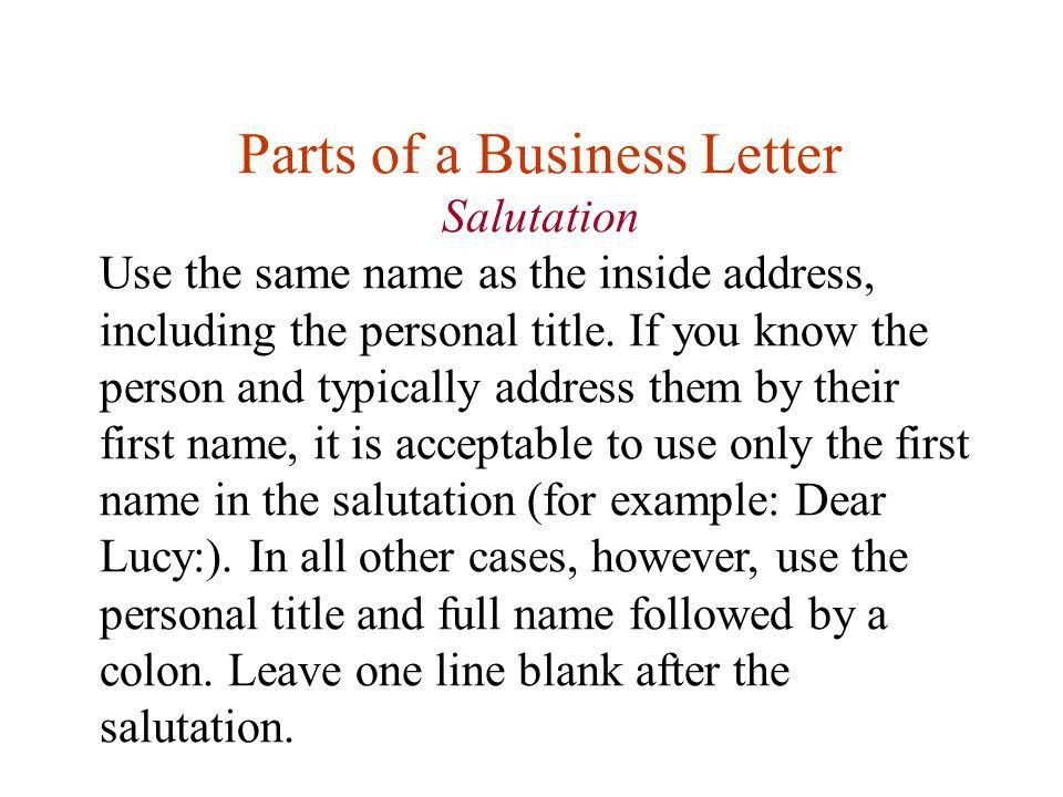 Lesson Eleven Writing Business Letters. First, any questions about ...