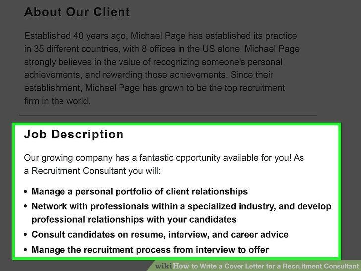How to Write a Cover Letter for a Recruitment Consultant (with ...