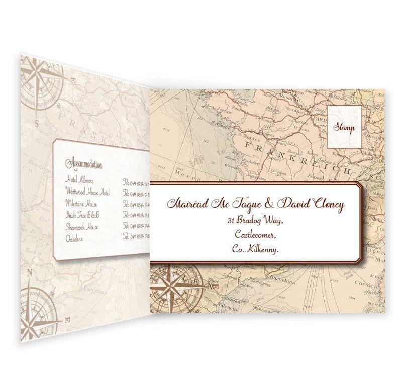 Around The World Tri-fold Wedding Invite & RSVP Sample - Loving ...