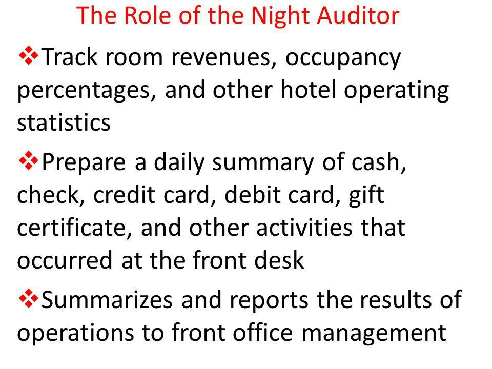 Night Audit A daily comparison of guest accounts (and non-guest ...