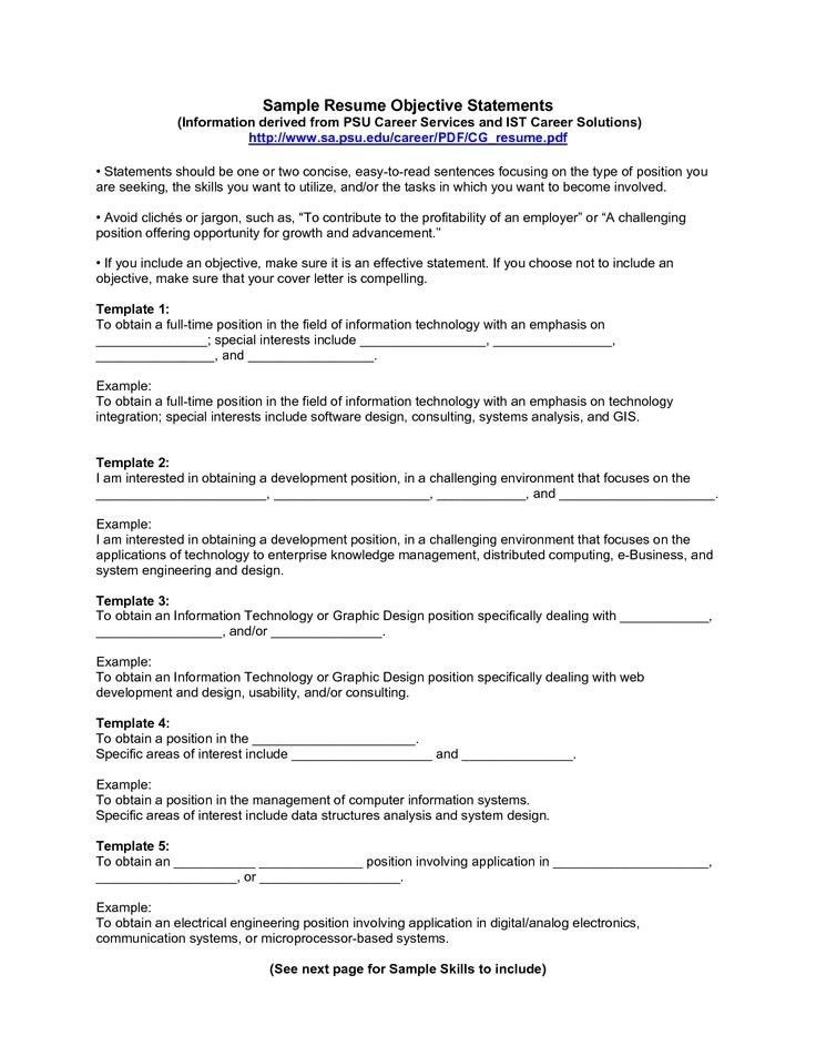 Good Resume Objective Statement | Template Idea