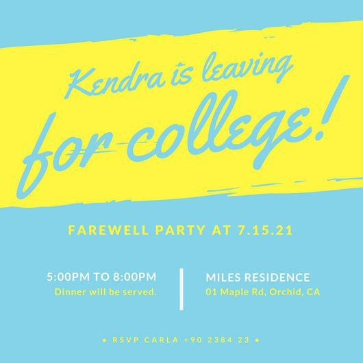 Farewell Party Blue Purple Stripe Invite - Templates by Canva