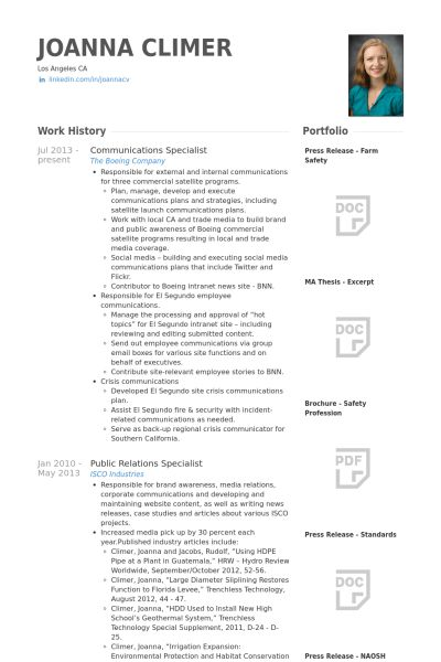 Communications Specialist Resume samples - VisualCV resume samples ...
