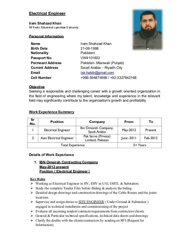1 update resume for electrical engineer