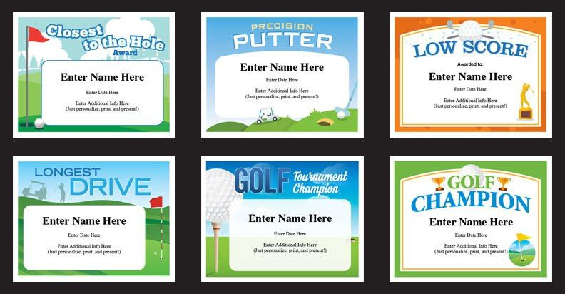 Golf Certificates Templates | Recognition and Awards for Golfers
