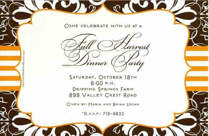 wording for a dinner party invitation : Cogimbo.us