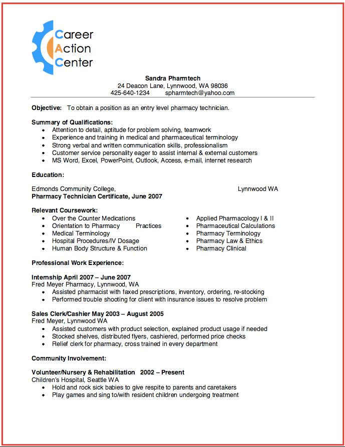become a pharmacy technician & sample Resume - RESUMEDOC