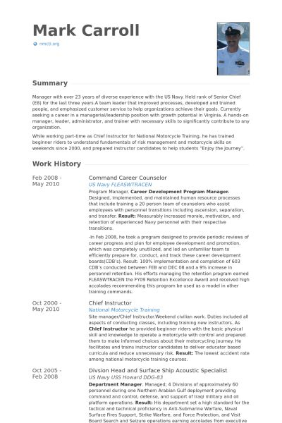 Career Counselor Resume samples - VisualCV resume samples database