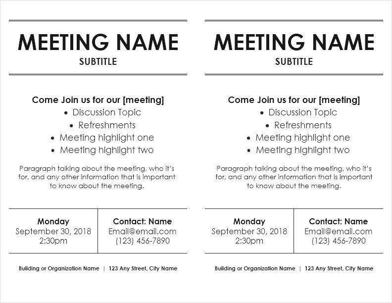 Meeting Flyer Templates for Word