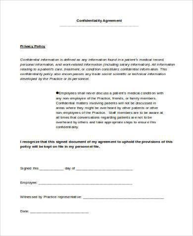 Confidentiality Agreement Form Samples - 9+ Free Documents in Word ...