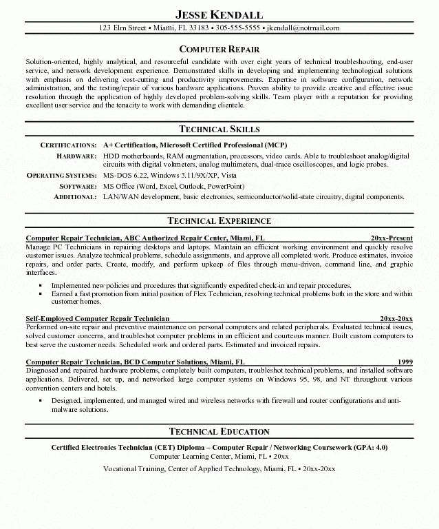 computer repair technician resumes