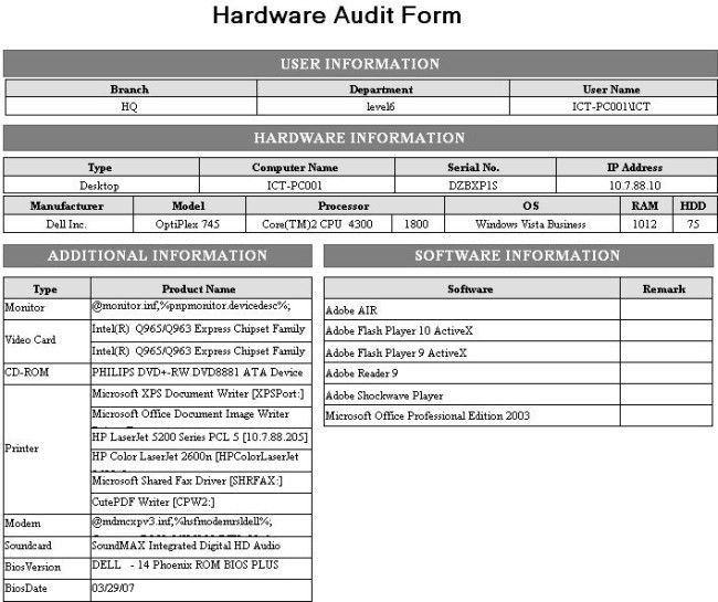 Interesting Hardware Audit Form Template Sample with User and ...