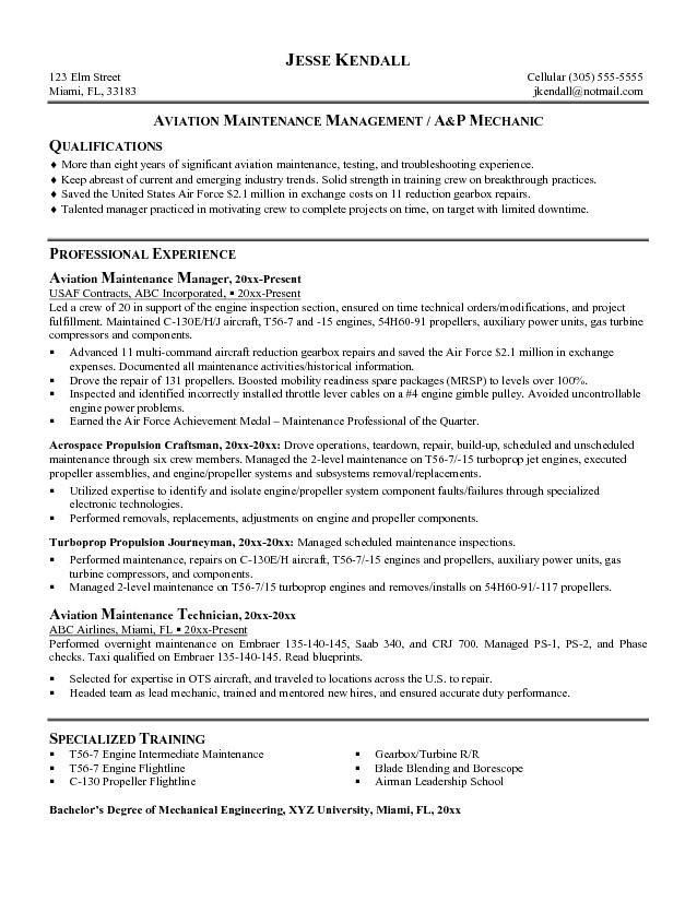 Free Aviation Maintenance Manager Resume Example