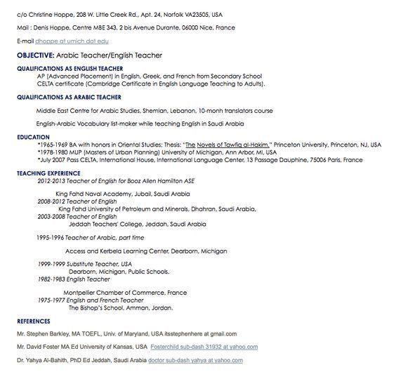 arabic teacher resume sample - http://resumesdesign.com/arabic ...