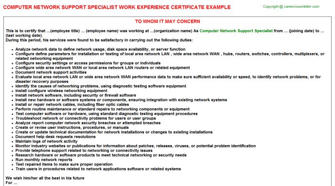 Computer Network Support Specialist Work Experience Certificate