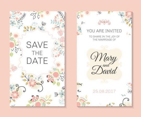Wedding invitation card template with floral vectors 03 - Vector ...