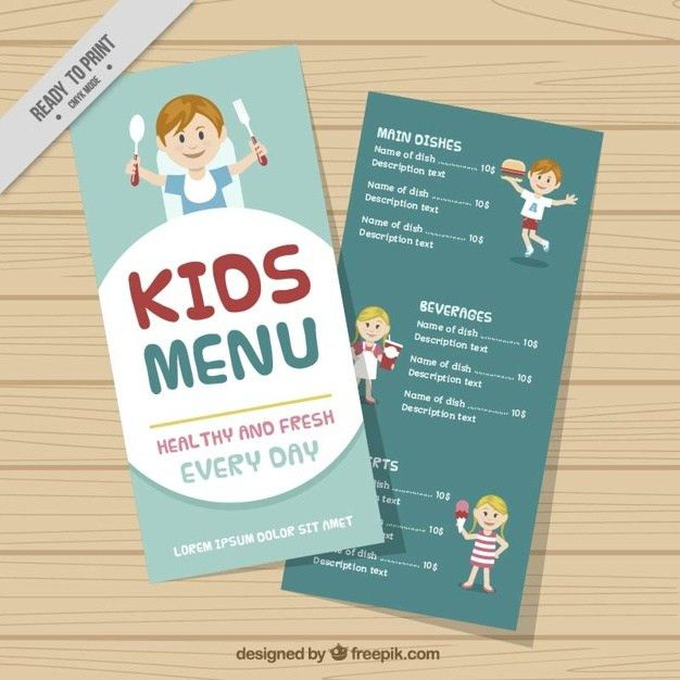 Nice kids menu template Vector | Free Download