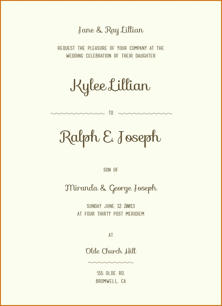 12+ sample wording for wedding invitations | Authorizationletters.org
