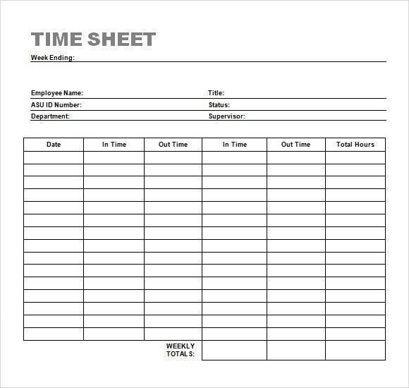 Weekly Time Sheet Template with Simple Table Format : Helloalive