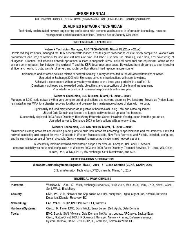 network technician resume sample senior network engineer resume ...