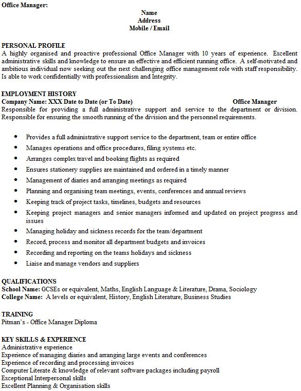 Office Manager CV Example - icover.org.uk