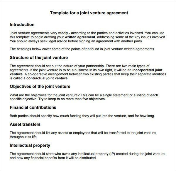 28+ Joint Venture Contract Template Free | Sample Joint Venture 9 ...