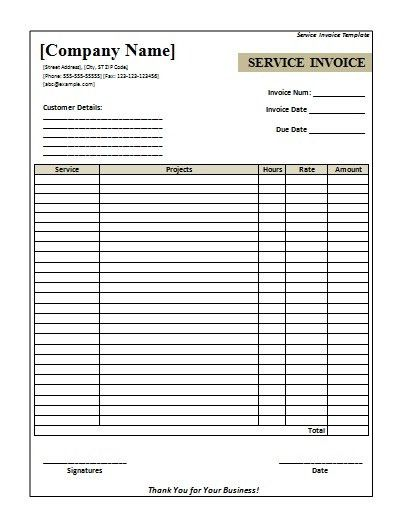 Printable Blank Service Invoice Template with Blank Company Logo ...