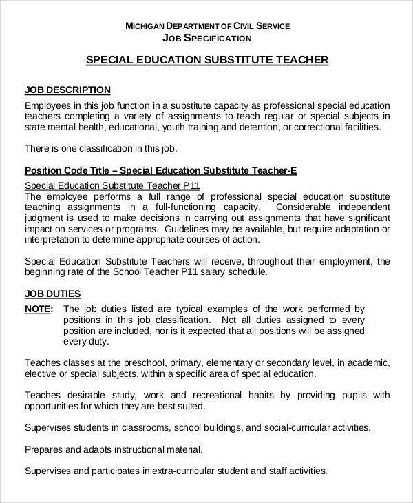 Substitute Teacher Resume Example - 5+ Free Word, PDF Documents ...