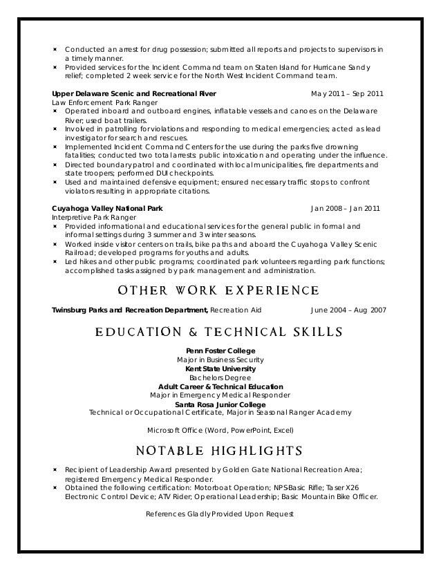 national park ranger resume resume ex resume cv cover letter park