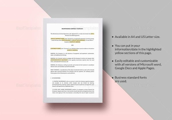 14+ Microsoft Word Contract Templates Free Download | Free ...