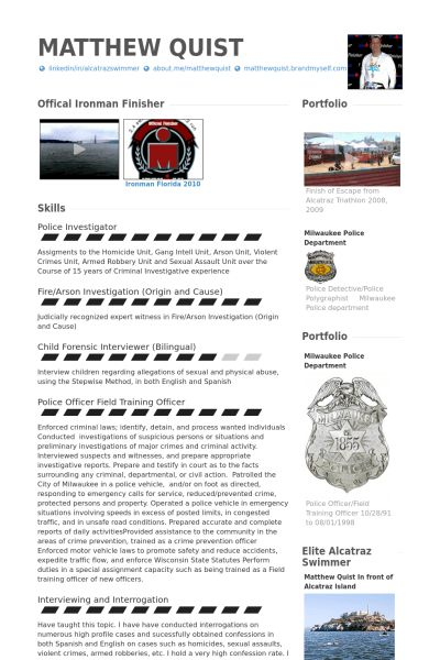 Police Officer Resume samples - VisualCV resume samples database
