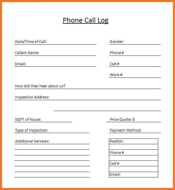 Call Log Template Pdf. Employee Review Form Personnel & Hr Forms ...