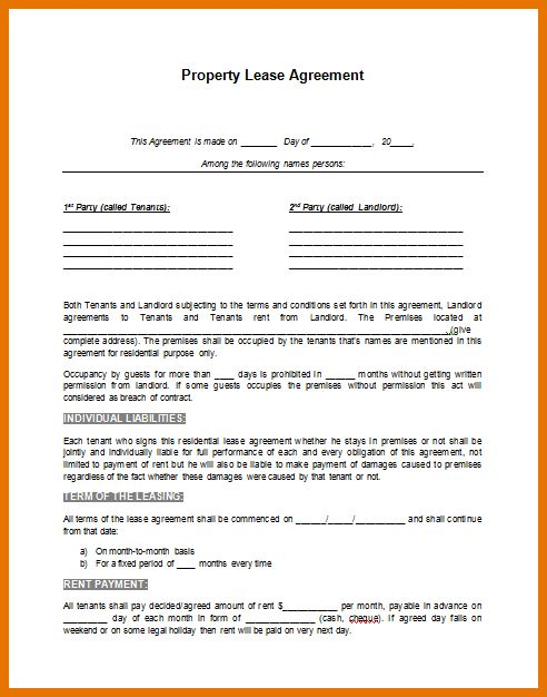 8+ free lease agreement template | Itinerary Template Sample