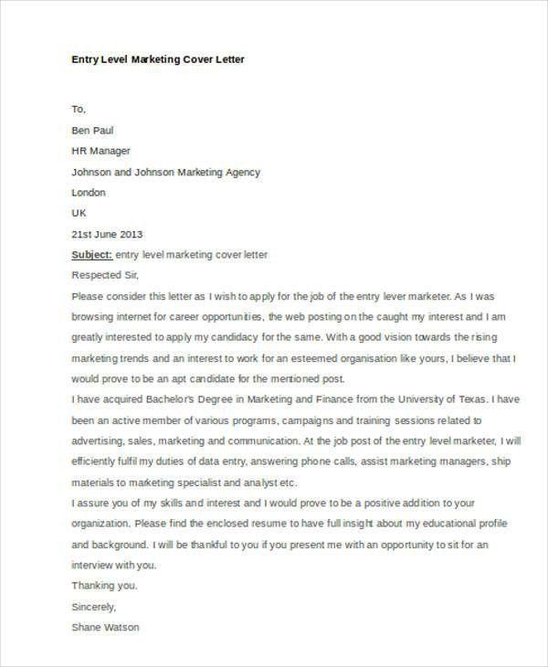 sample entry level marketing cover letter. entry level marketing ...