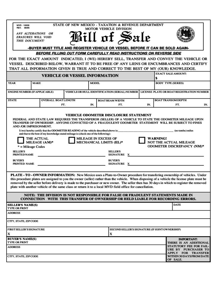 Vehicle or Vessel Bill of Sale Sample Form - New Mexico Free Download