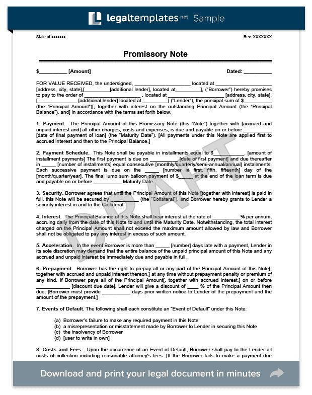 Promissory Note Template Library | Legal Templates