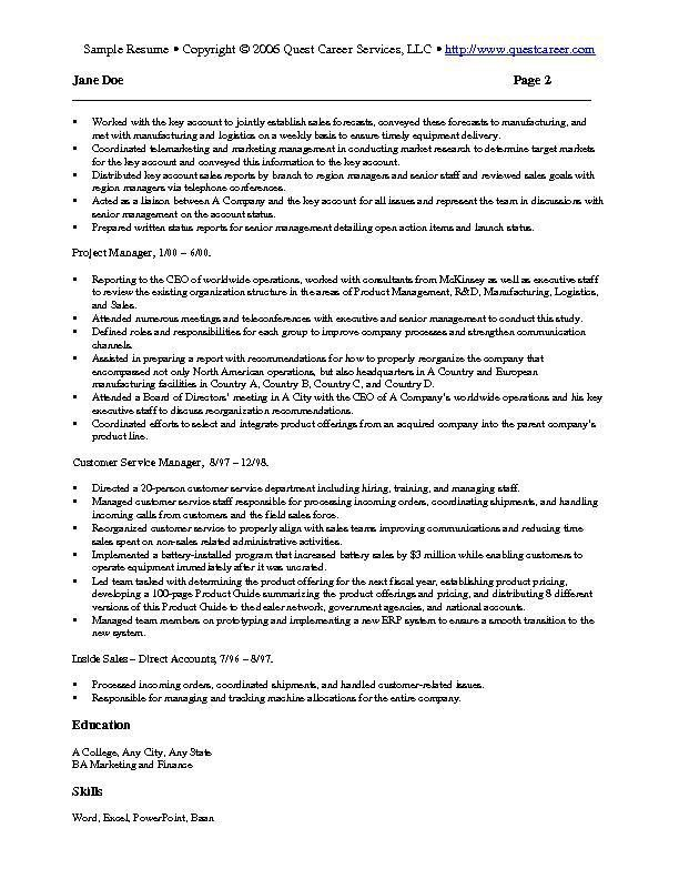 Sample Resume Example 4 - sales and marketing resume