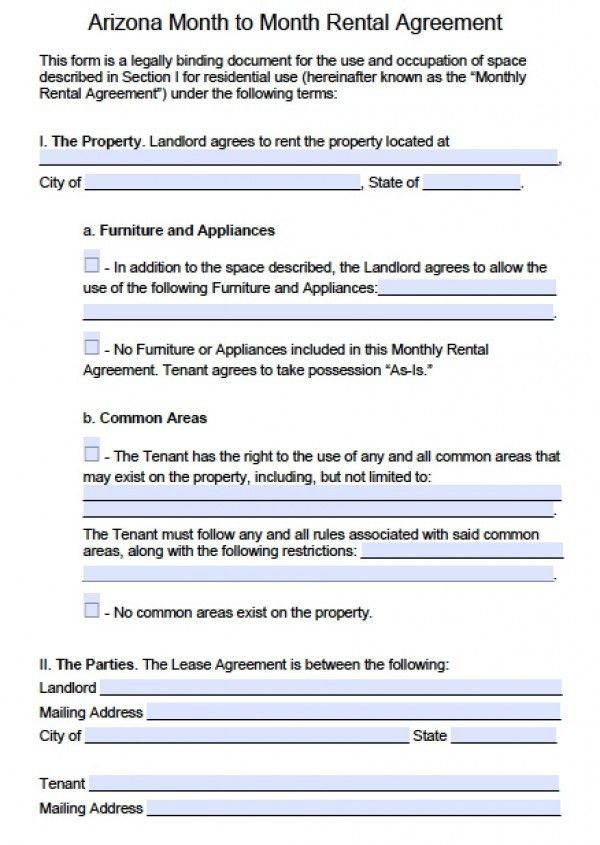 Free Arizona Month-to-Month Rental Agreement | PDF | Word (.doc)