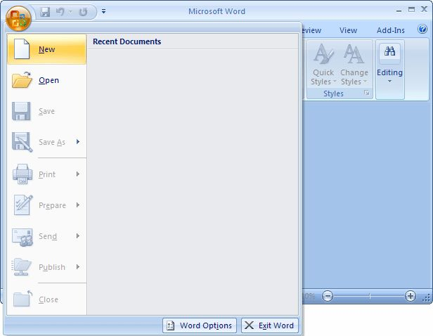 MS Word 2007: Create a template from a blank document