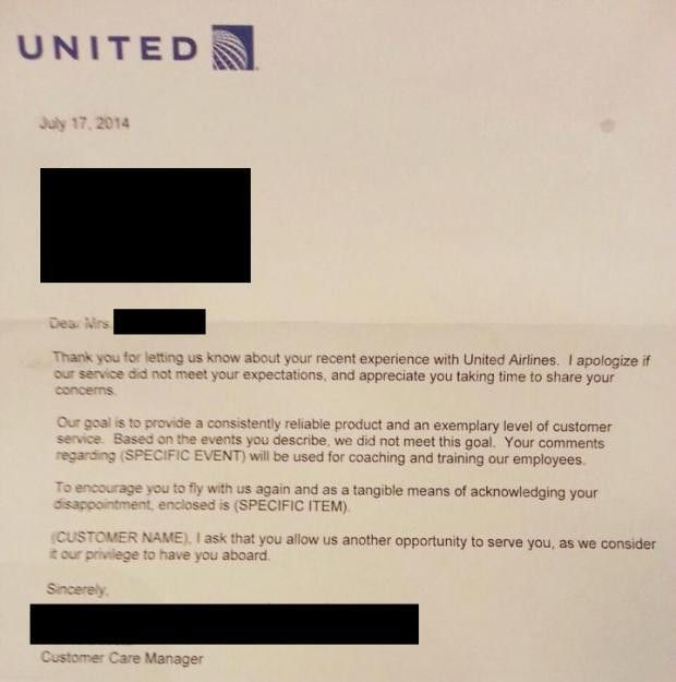 United Airlines pens least sincere apology letter of all time ...
