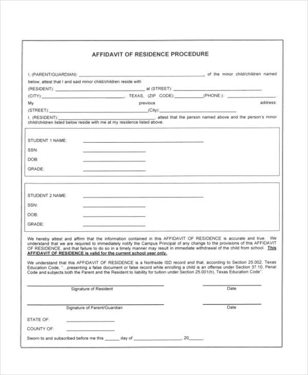 Sample Affidavit of Residency Form - 9+ Sample Documents in PDF,