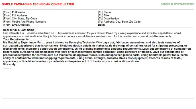 Packaging Technician Cover Letter