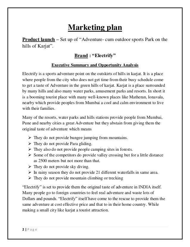 Business plan of Entertainment park