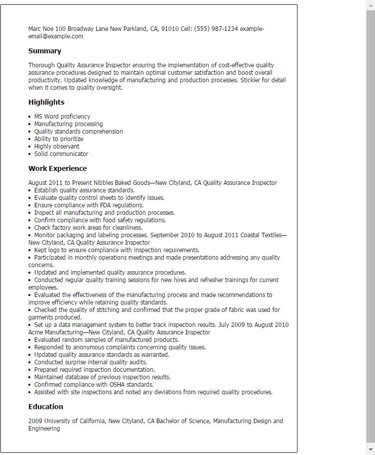 qa qc resume sample cv format for qa qc inspector sample customer ...
