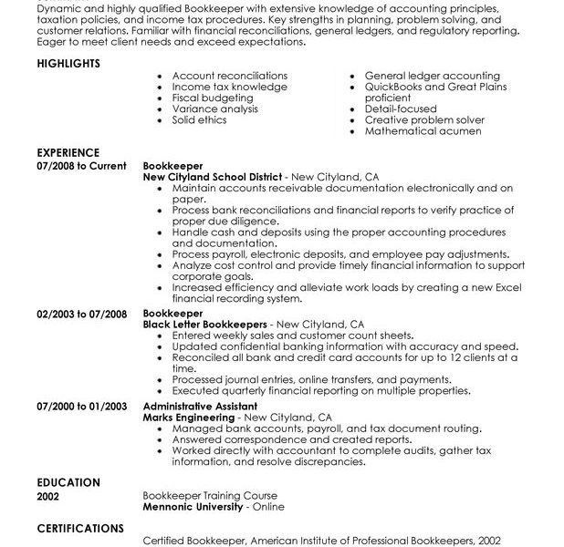 Extraordinary Ideas Bookkeeper Resume 1 Unforgettable Bookkeeper ...