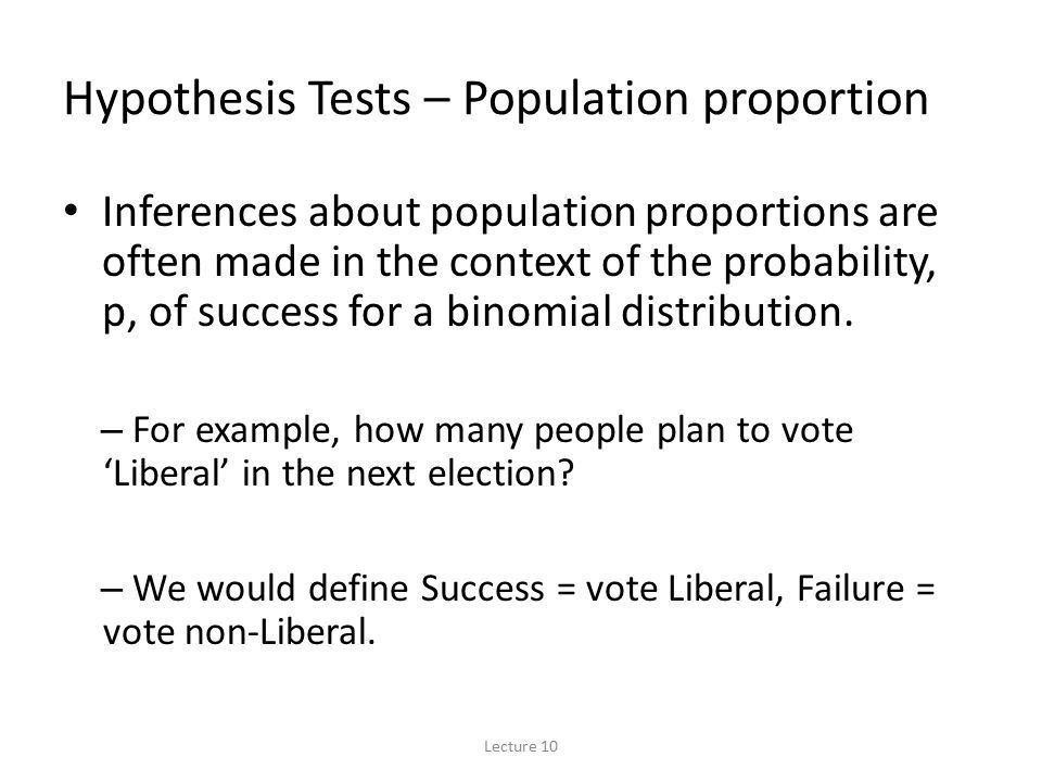 Outline Hypothesis tests – population proportion Example 1 Example ...