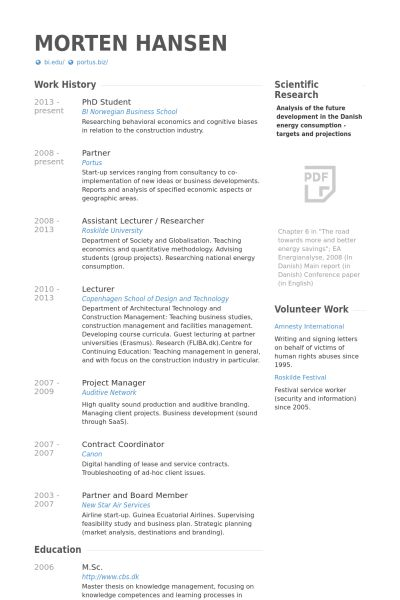 Phd Student Resume samples - VisualCV resume samples database