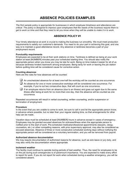 Absence Policies - Template & Sample Form | Biztree.com